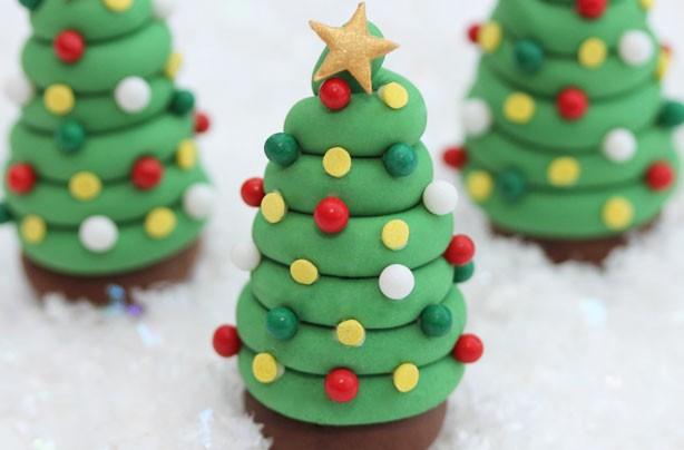 Cupcake Topper a forma di albero di Natale